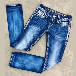 """Rock Revival """"Berry"""" Straight Stretch Blue Jeans"""